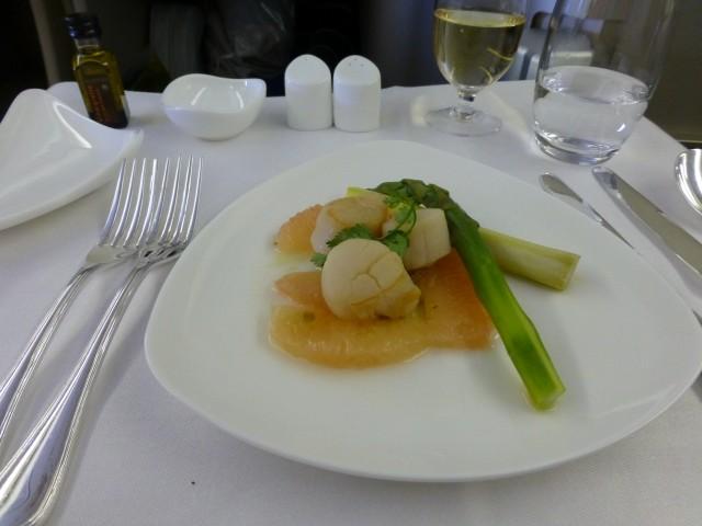 Pan Seared Scallop with Jalapeno Grapefruit Salsa and Asparagus