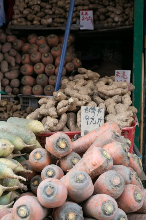 Very large carrots and other root vegetables.