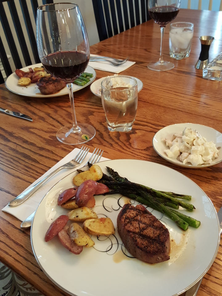 Plated dinner - paired with a mediocre Pinot from the Okanagan Valley