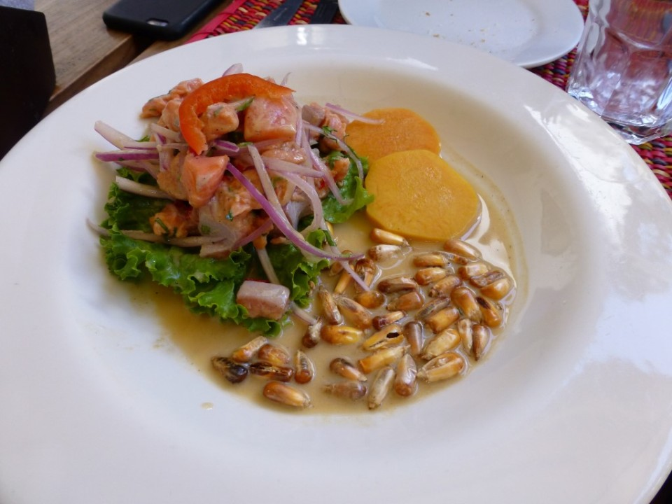 Trucha (trout) ceviche with Andean Potato and local corn.