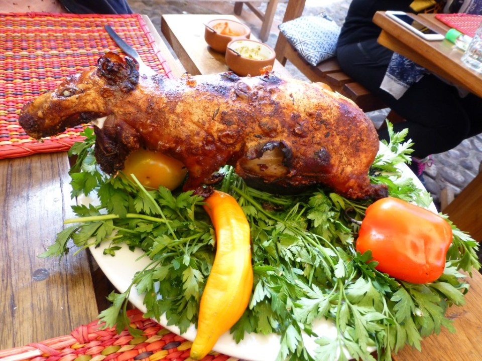 Roasted Cuy (guinea pig). Quite the smile, eh?