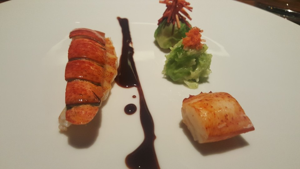 Maine Lobster - chartreuse, savoy cabbage, red wine. Paired with 2006 Serafin Père et Fils, 'Les Millandes,' Morey-Saint-Denis Premier Cru, Burgundy, France (or is that Germany?)
